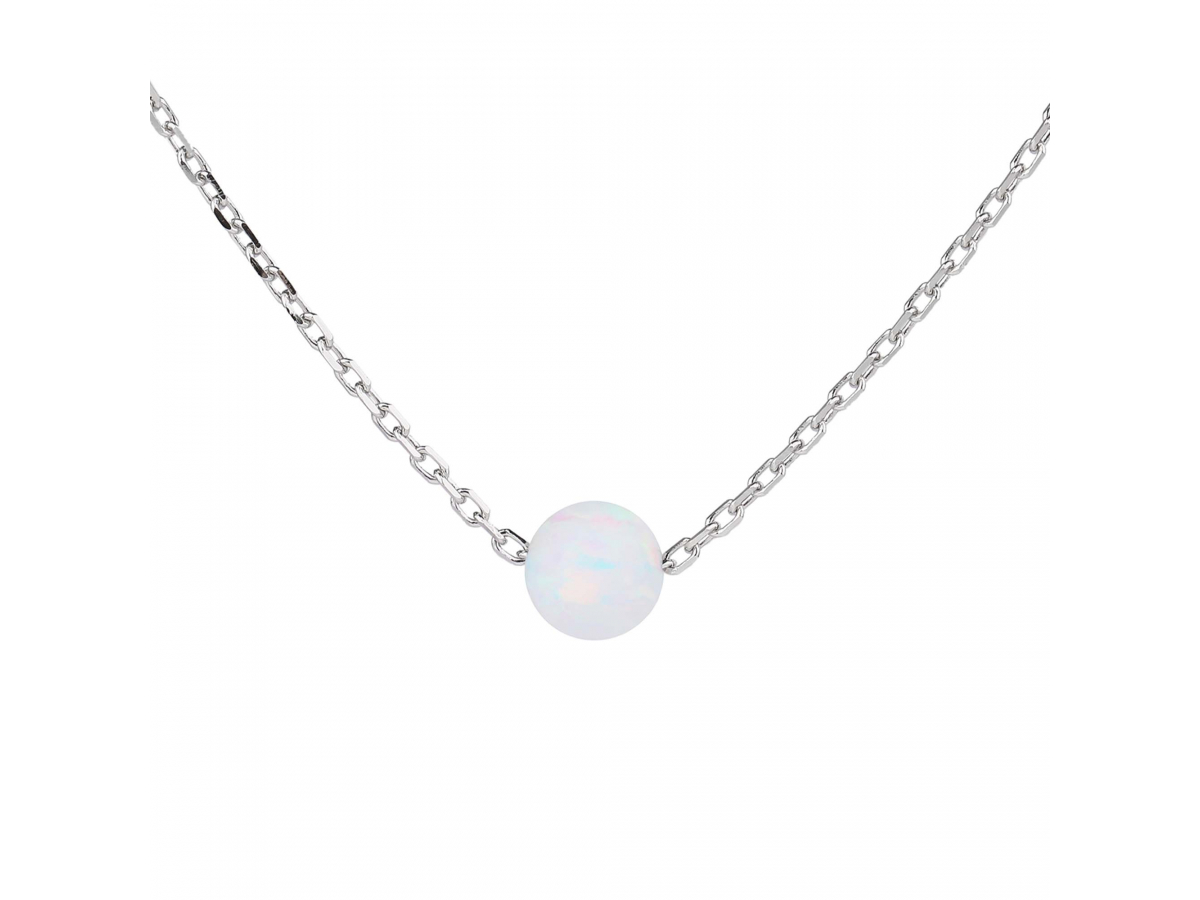 Stříbrný náhrdelník KULIČKA 5 mm bílý OPÁL