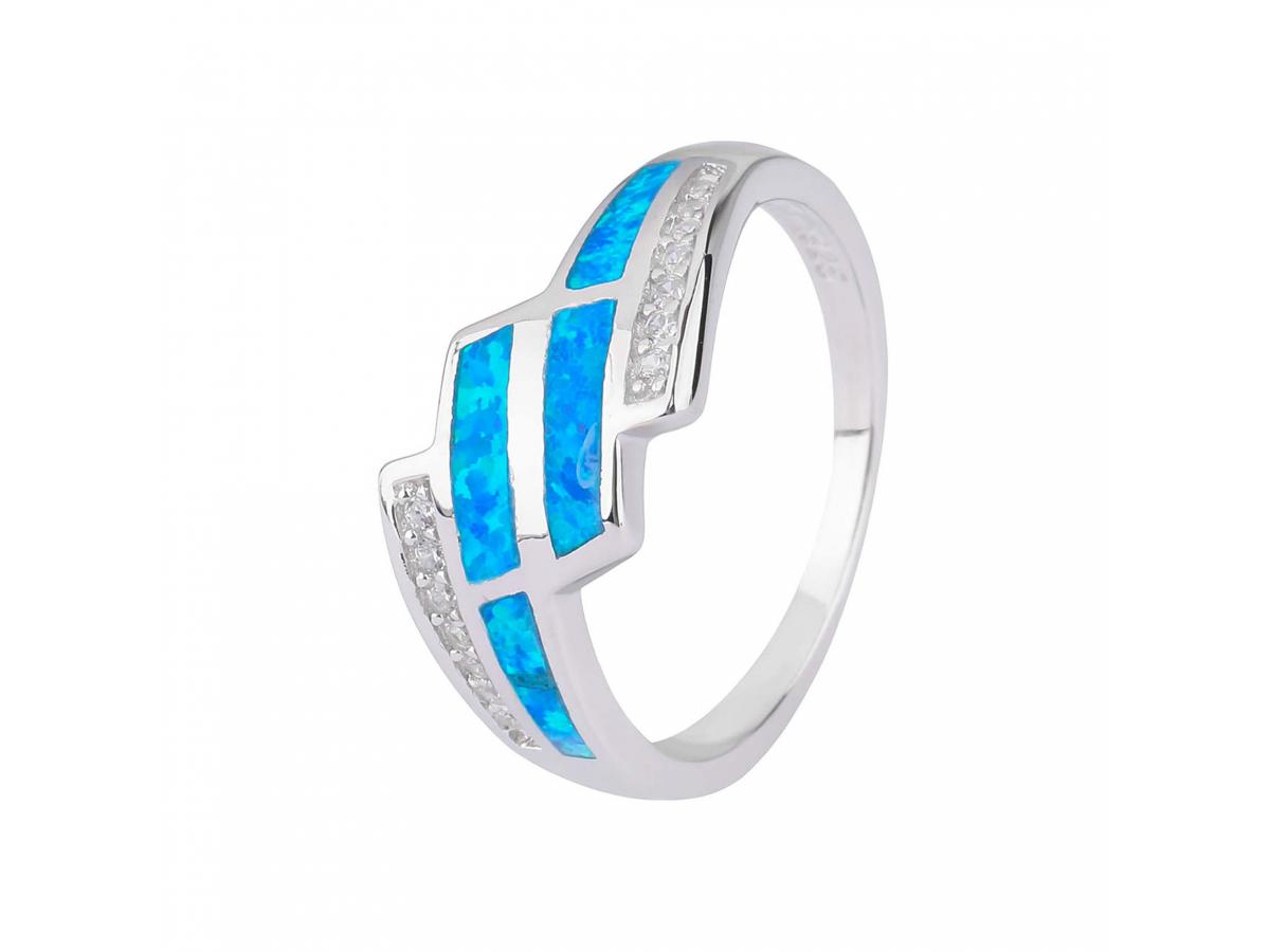 Stříbrný prsten KASKÁDA modrý OPÁL