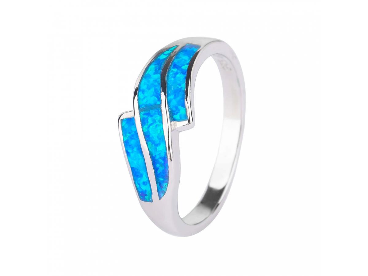 Stříbrný prsten VLNKY modrý OPÁL