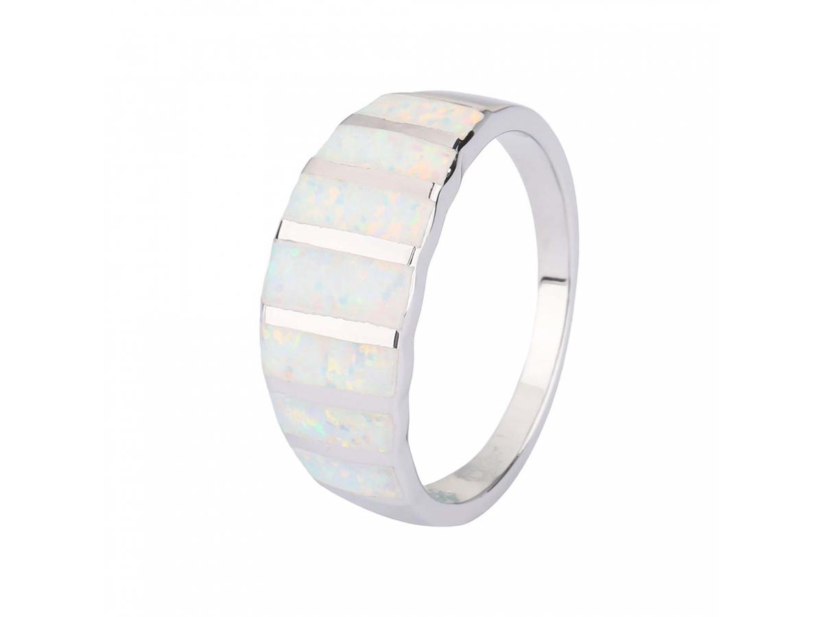 Stříbrný prsten NEBESKÝ bílý OPÁL