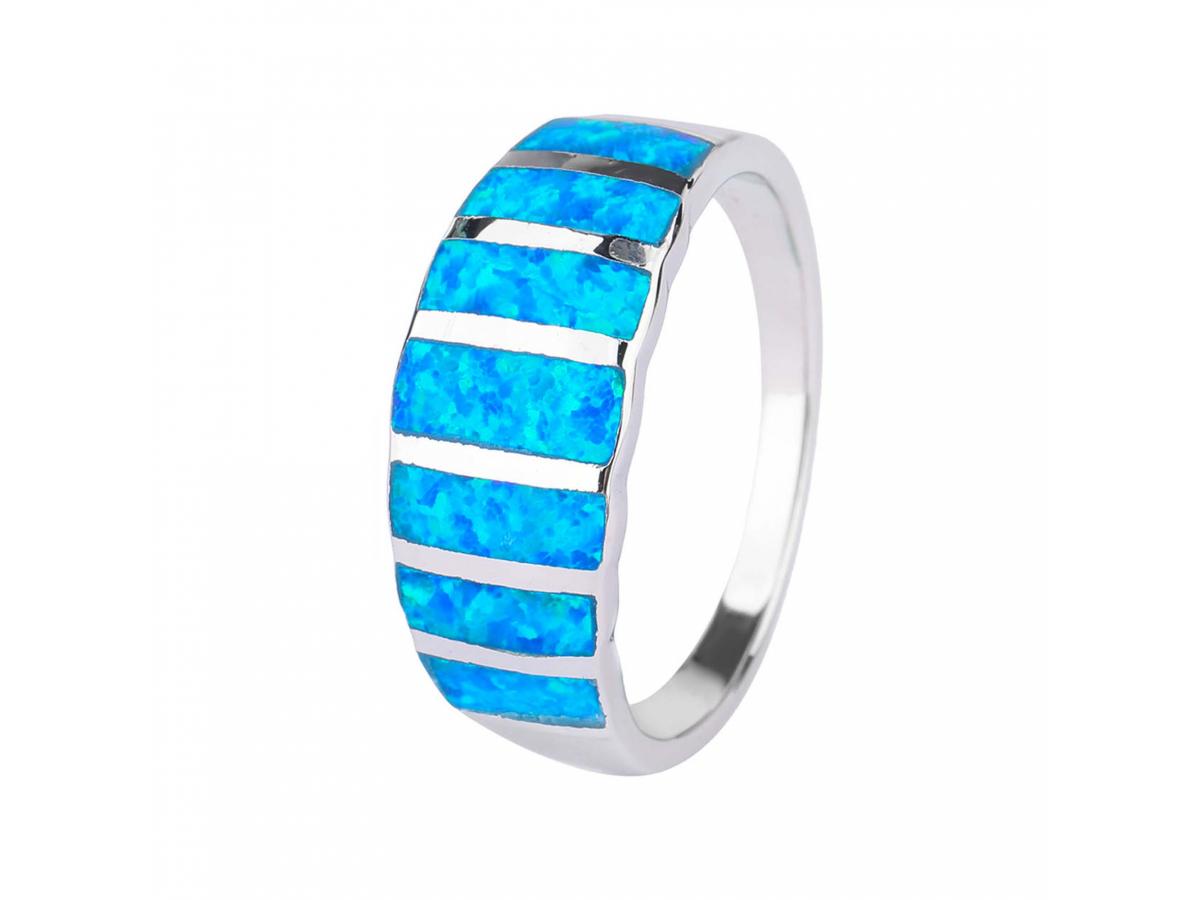 Stříbrný prsten NEBESKÝ modrý OPÁL