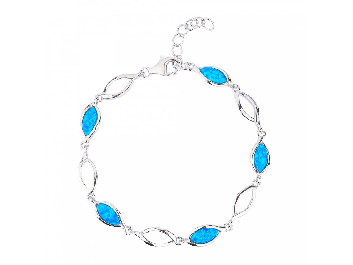 Stříbrný náramek KAPKY modrý OPÁL