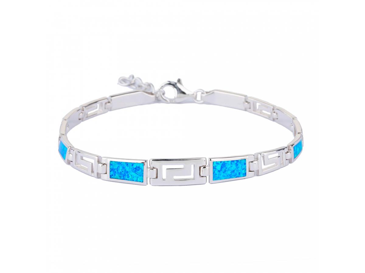 Stříbrný náramek ŘECKÝ modrý OPÁL