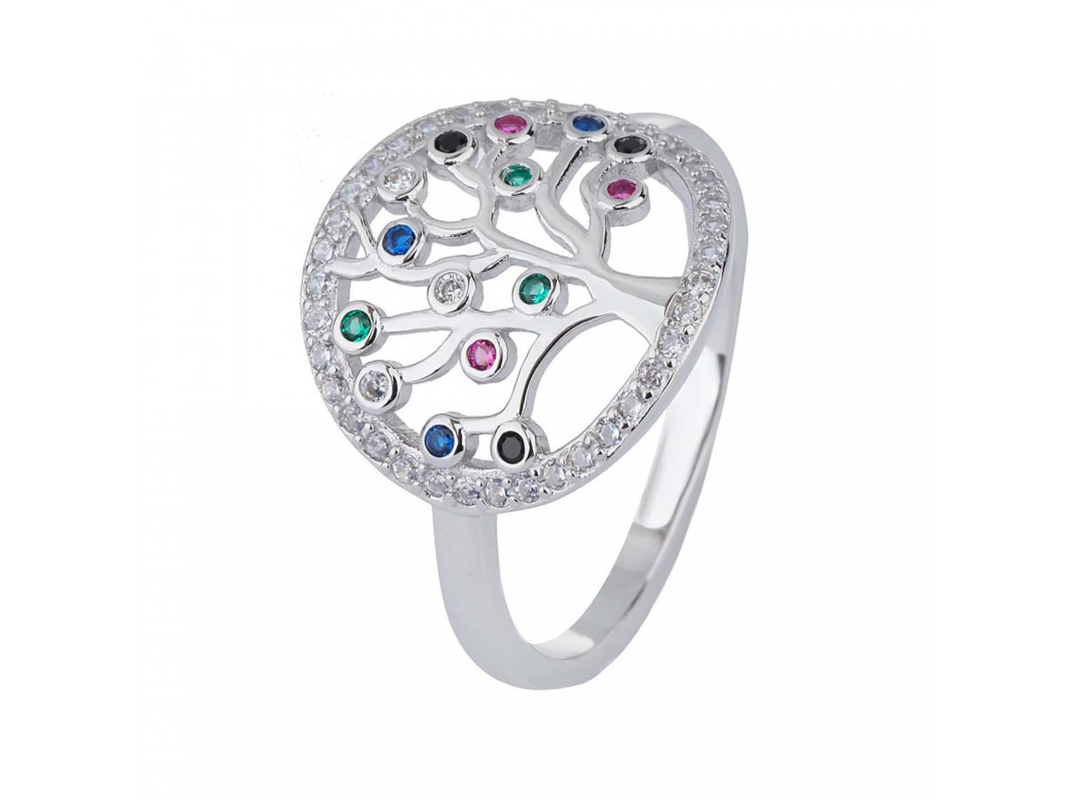 Stříbrný prsten STROM ŽIVOTA barevný