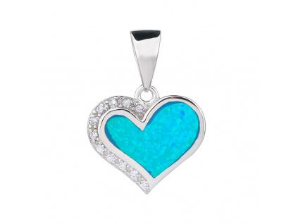 Stříbrný přívěsek SRDCE modrý OPÁL