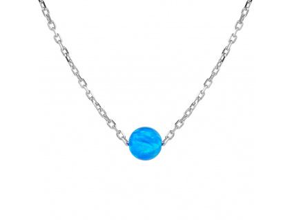 Stříbrný náhrdelník KULIČKA 5 mm modrý OPÁL