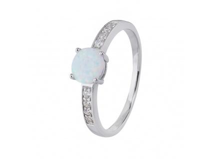 Stříbrný prsten SOLITÉR bílý OPÁL
