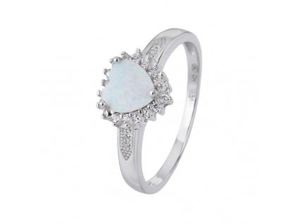 Stříbrný prsten SRDÍČKO bílý OPÁL