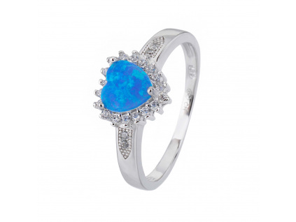 Stříbrný prsten SRDÍČKO modrý OPÁL