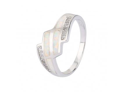 Stříbrný prsten KASKÁDA bílý OPÁL