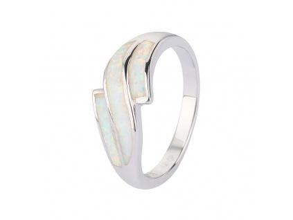 Stříbrný prsten VLNKY bílý OPÁL