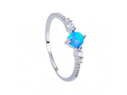 Stříbrný prsten SOLITÉR modrý OPÁL