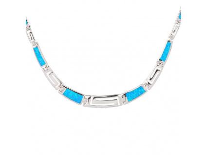 Stříbrný náhrdelník ŘECKÝ modrý OPÁL