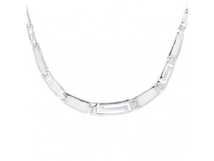 Stříbrný náhrdelník ŘECKÝ bílý OPÁL