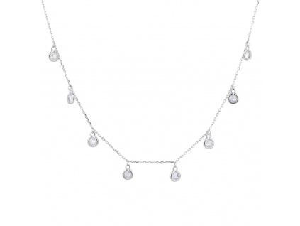 Stříbrný náhrdelník PENÍZKY bílá