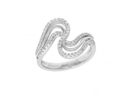 Stříbrný prsten vlnitý