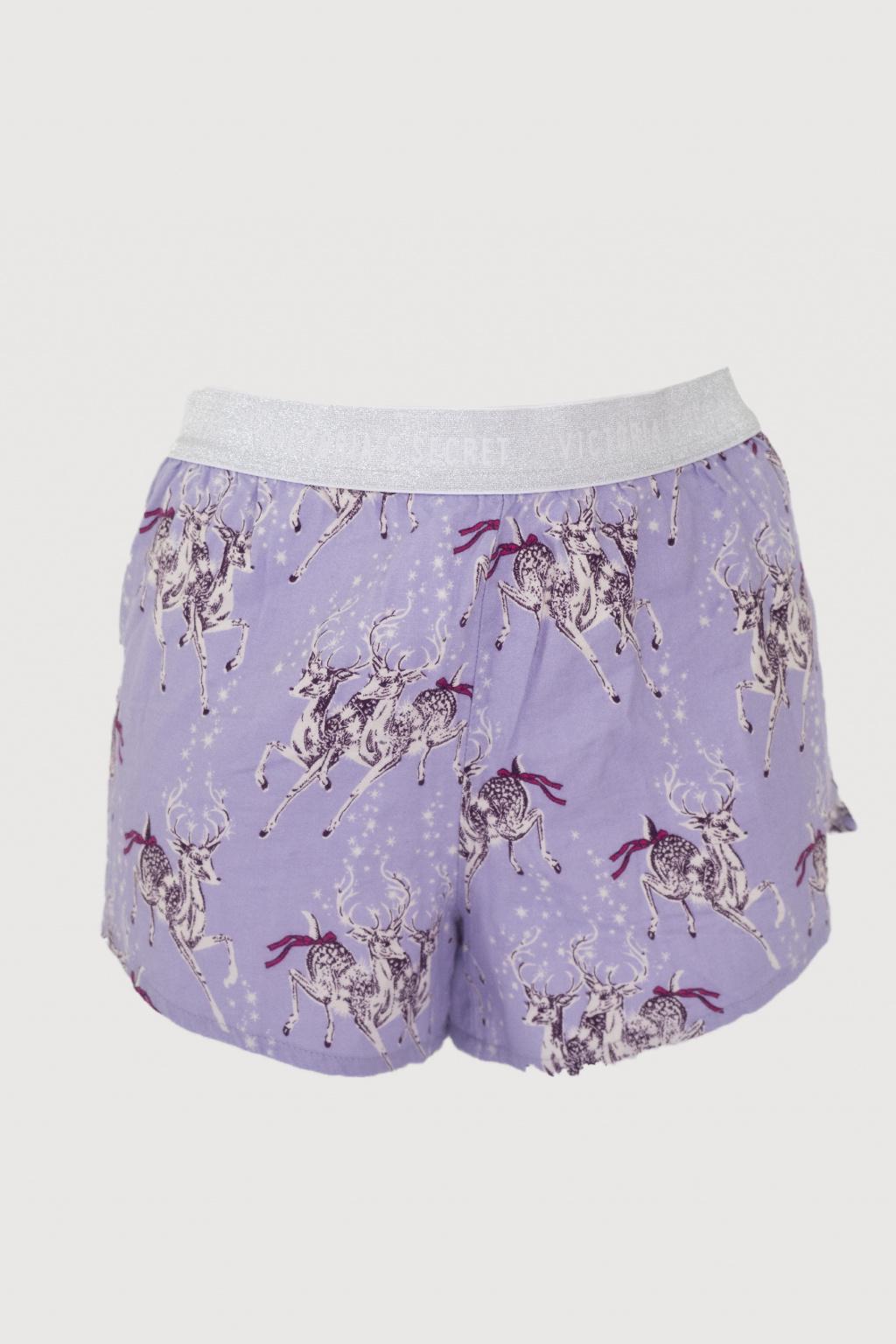 Flanelové kraťasy Victoria's Secret – Logo Flannel Short – Purple Reindeer