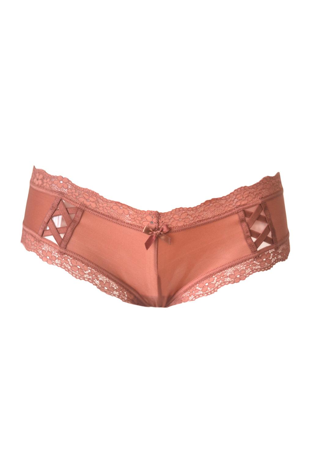 Luxusní kalhotky lace up cheeky panty – sparkling blush
