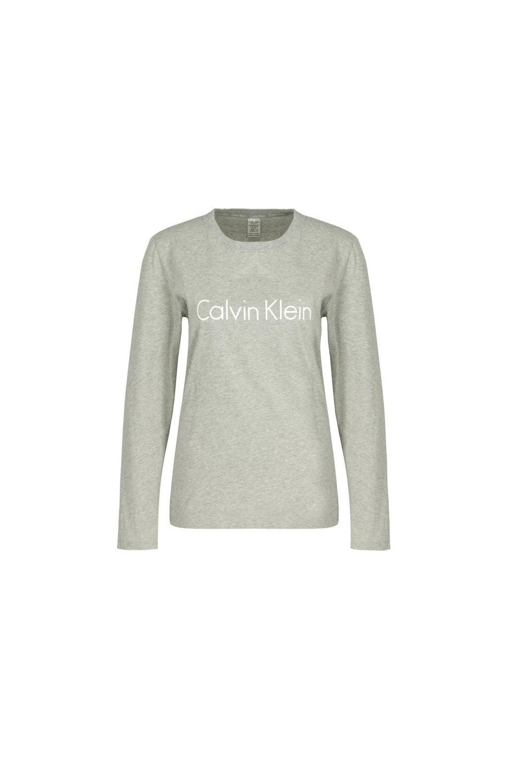 Calvin Klein logo tričko s dlouhým rukávem - šedé