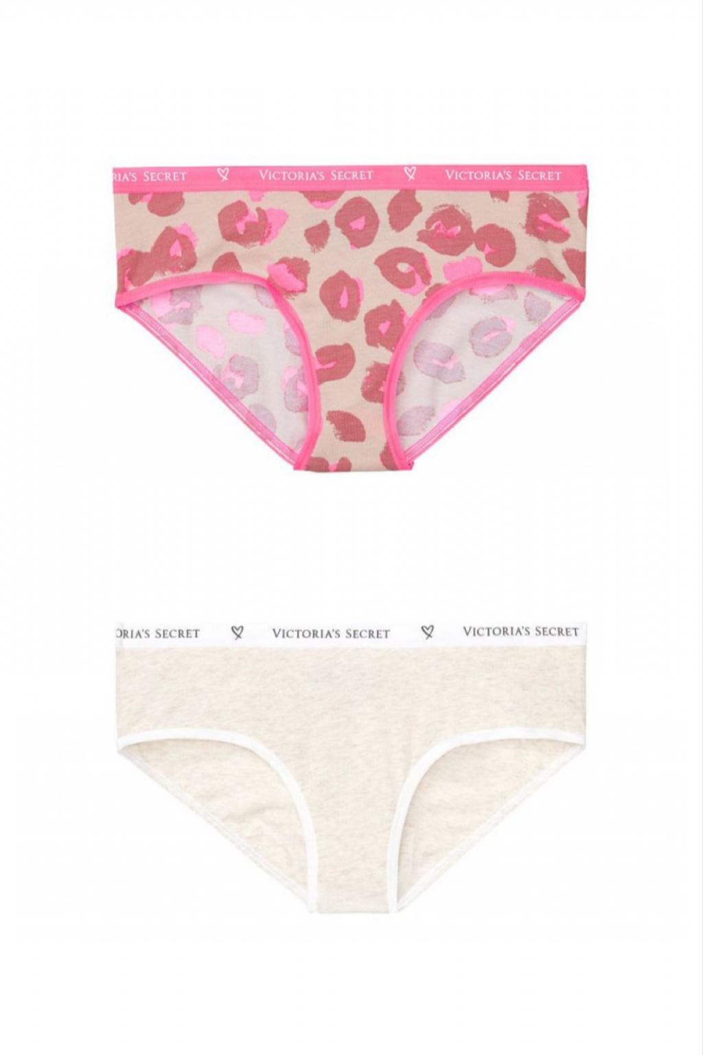 Bokové kalhotky Victoria's Secret – Hiphugger Panty – pattern, outmeal