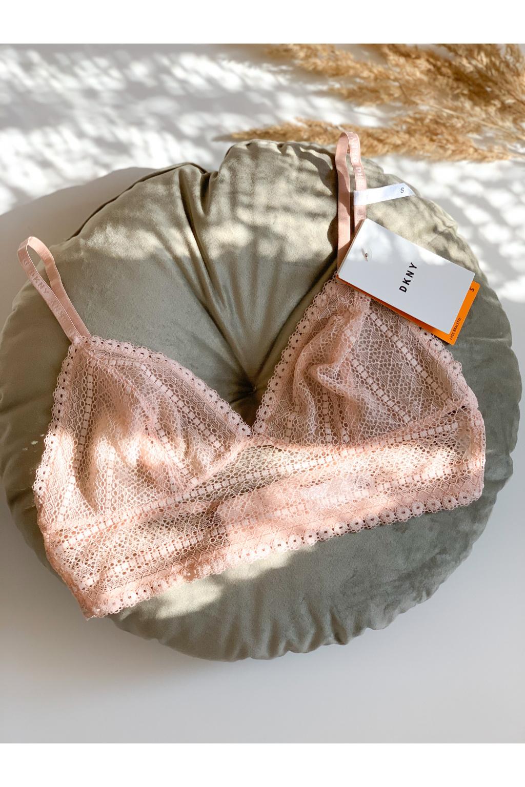 Krajková podprsenka DKNY Table Tops - světle růžová/tělová