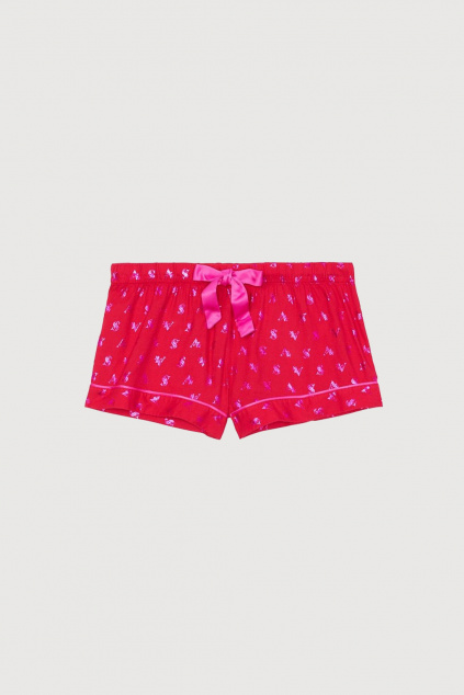 Flanelové kraťasy Victoria's Secret – Flannel Short – Red VS Logo