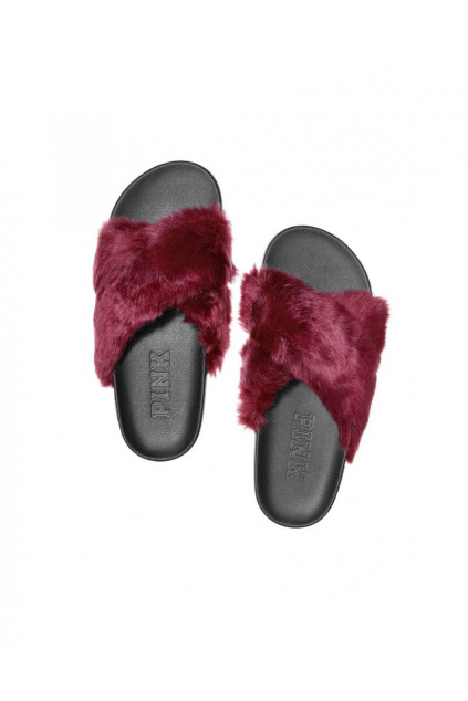 damske pantofle faux fur crisscross slides cervene