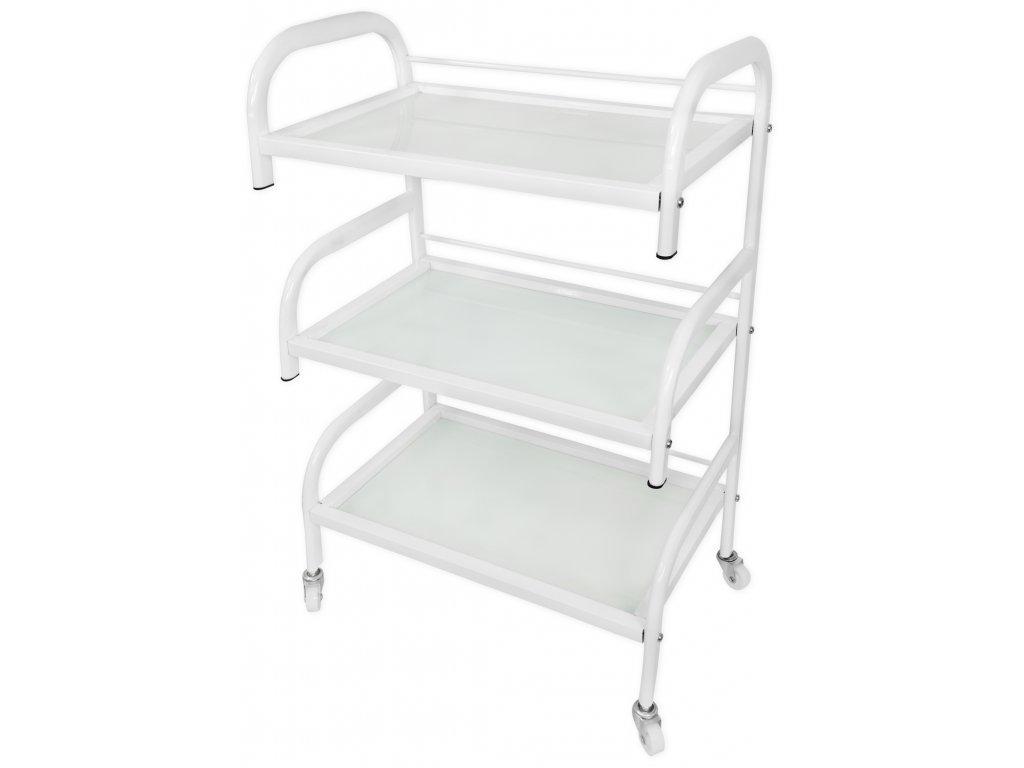 Kosmetický vozík - skleněný bílý