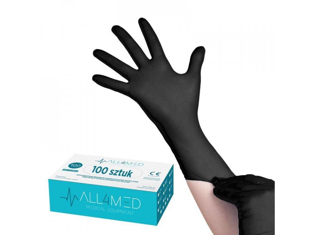 ALL4MED jednorázové rukavice - černé vel. S 100 ks