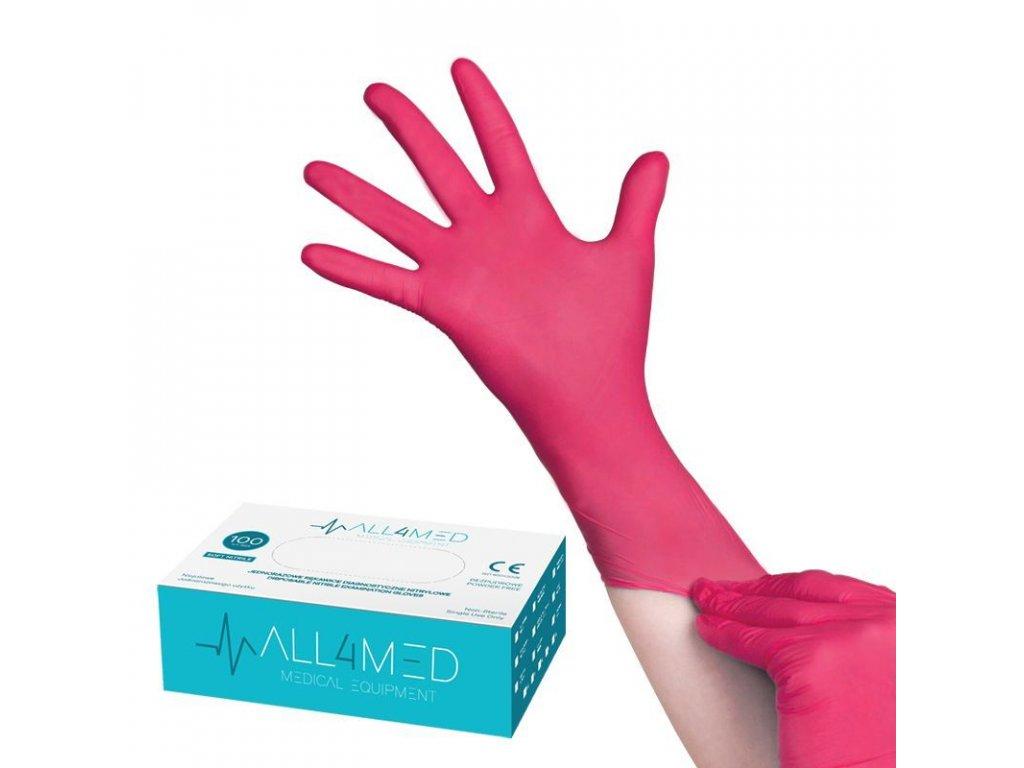 ALL4MED jednorázové rukavice - tmavě růžové vel. S 100 ks
