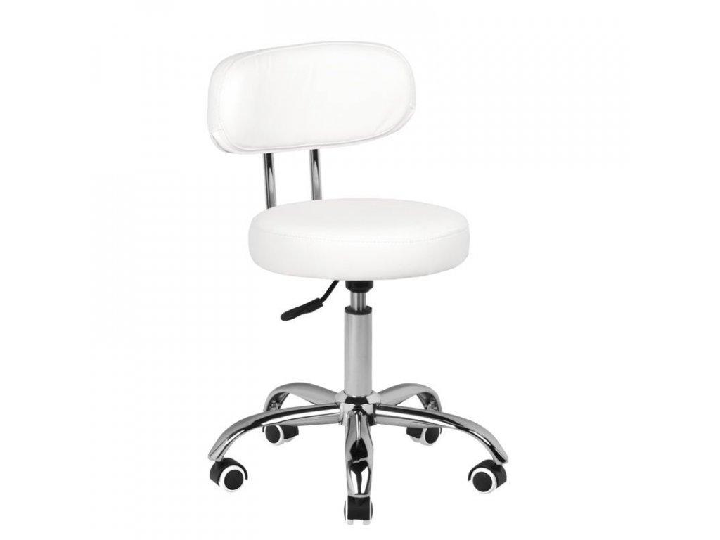 Kosmetická židle s opěrkou A-007 BÍLÁ
