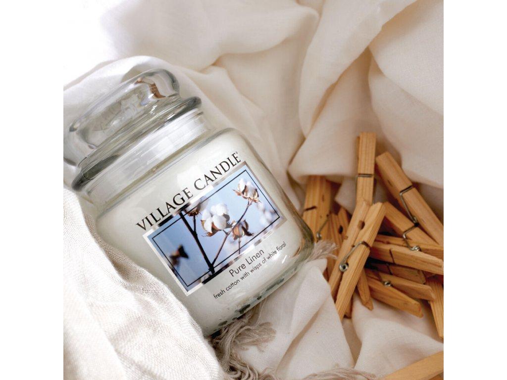 47129 12635 village candle vonna svicka ve skle ciste pradlo pure linen 3 75oz