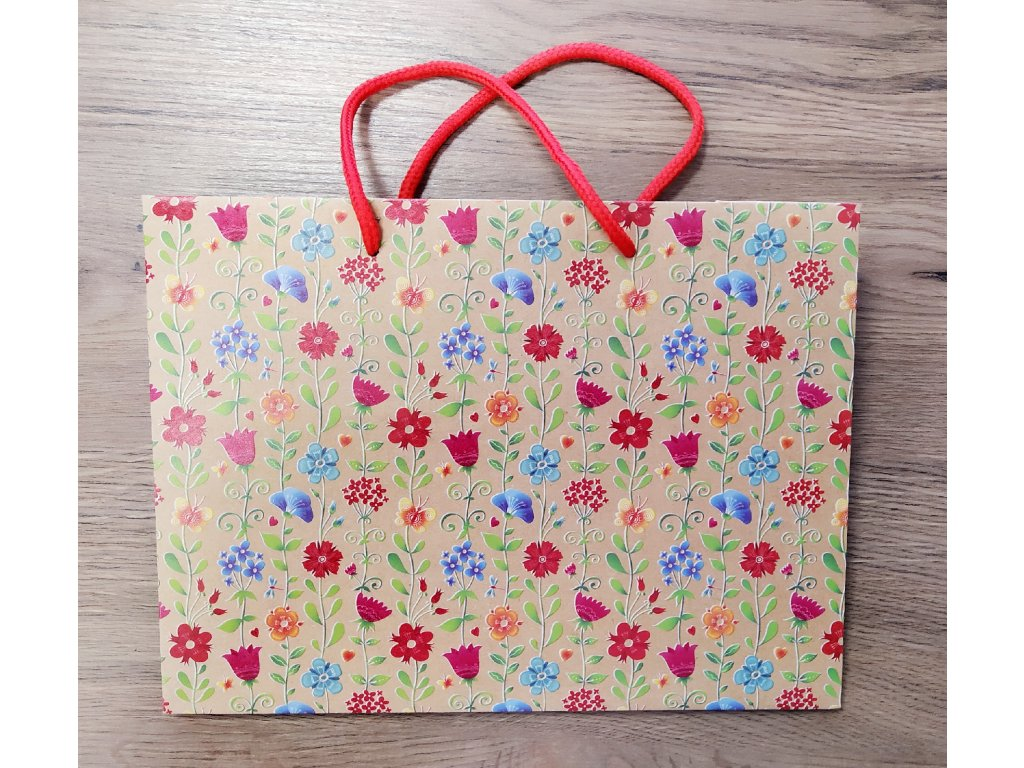 """ARGUS papírová dárková taška """"NATUR"""" (přírodní) T4, Luční Květiny"""