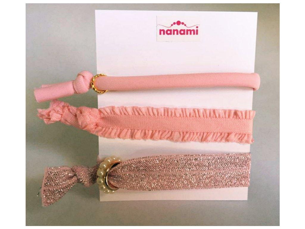 NANAMI sada gumičkových náramků s přívěšky Pudrově Růžová