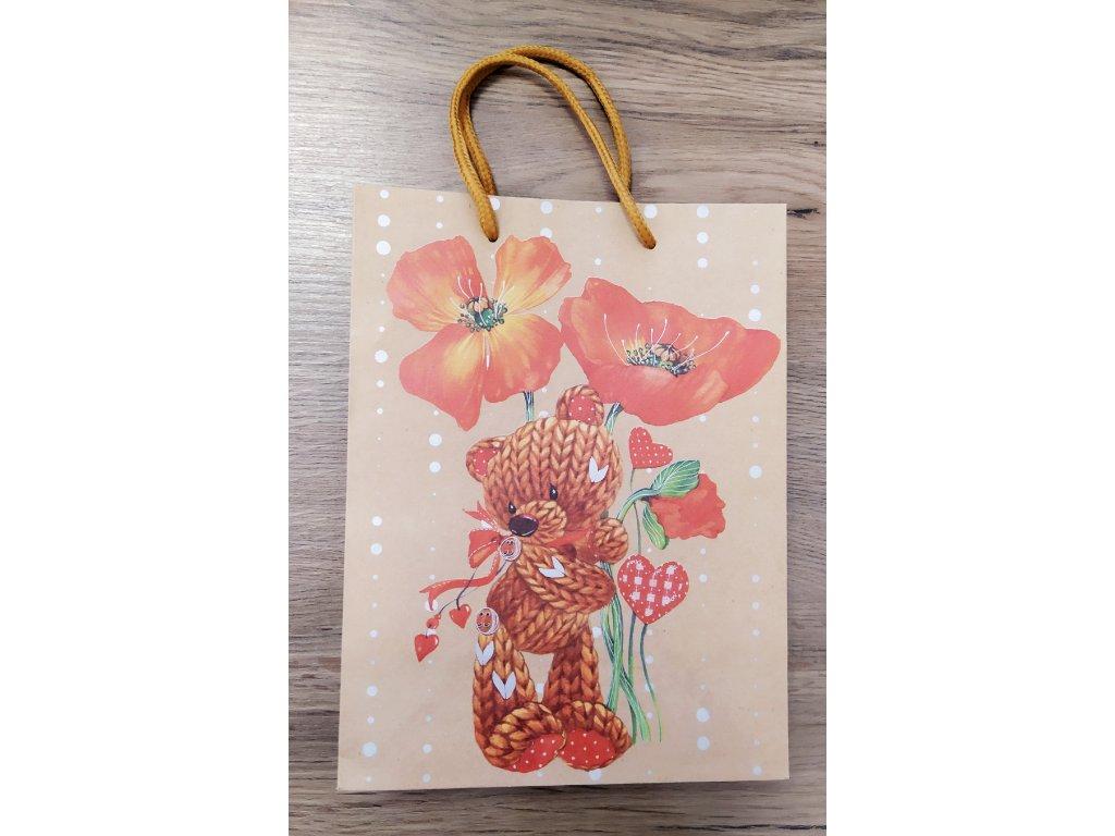 """ARGUS papírová dárková taška """"NATUR"""" (přírodní) T4, Medvídek"""
