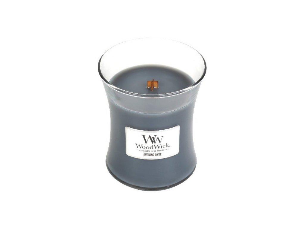WOODWICK vonná svíčka ve skle Evening Onyx, střední