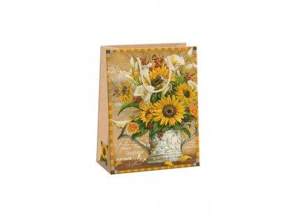 """ARGUS papírová dárková taška """"NATUR"""" (přírodní) T4, Slunečnice"""
