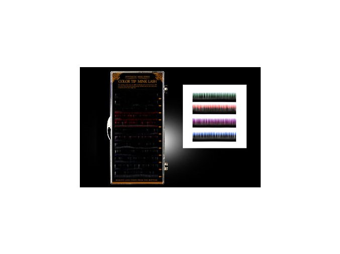 SLEVA 50% Melírované řasy mix 4 barev (Délka 10 mm)