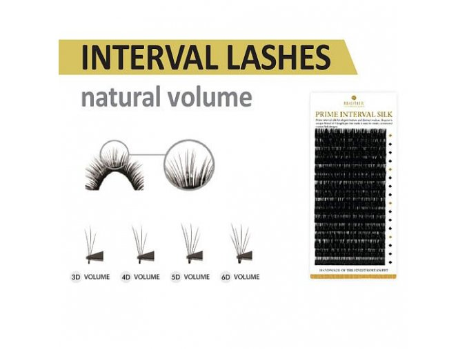 INTERVAL LASHES  B 0.07 natural volume (Délka kombinace 9+11+13 mm)