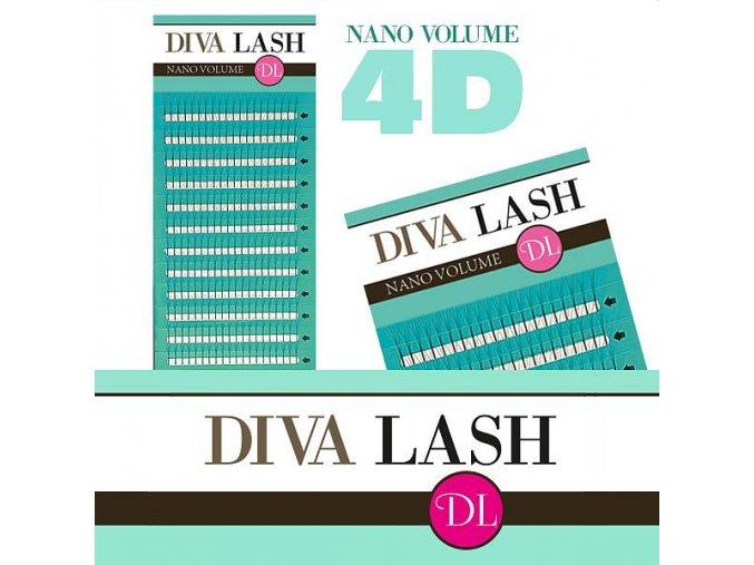DIVA Nano Volume 4D řasy / D 0,07 (Odstín 8mm)