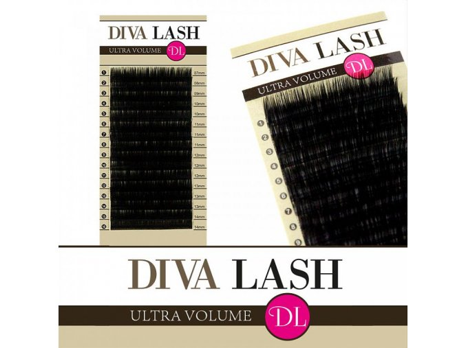 DIVA hedvábné objemové řasy - zakřivení D 0,05 - balení 16 řad (Délka 8 mm)