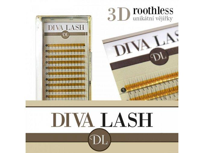 DIVA 3D objemové vějířky ROOTHLESS - zakřivení C 0,07 - balení 12 řad (Délka 13 mm)