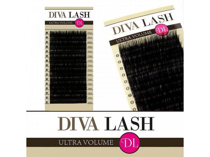 DIVA hedvábné objemové řasy - zakřivení D 0,07 - balení 16 řad (Délka 12 mm)