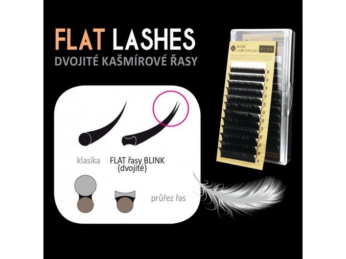 Flat lash - dvojité kašmírové řasy B 0,15 (Odstín 14 mm)