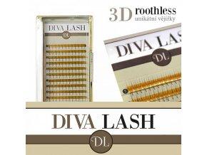 DIVA 3D objemové vějířky ROOTHLESS - zakřivení D 0,07 - balení 12 řad (Délka 12 mm)