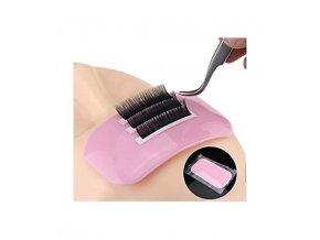rectangular pink silicone lash pad