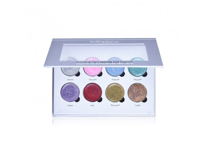bellapierre 8 color pro glitter eye palette open resized 1