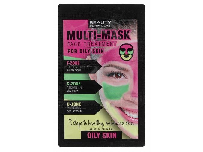 88644 Beauty Formulas Multi Mask Face Treatment For Oily Skin (5g+5g+5g)