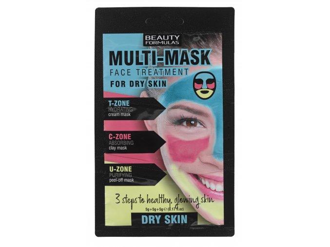 88643 Beauty Formulas Multi Mask Face Treatment For Dry Skin (5g+5g+5g)