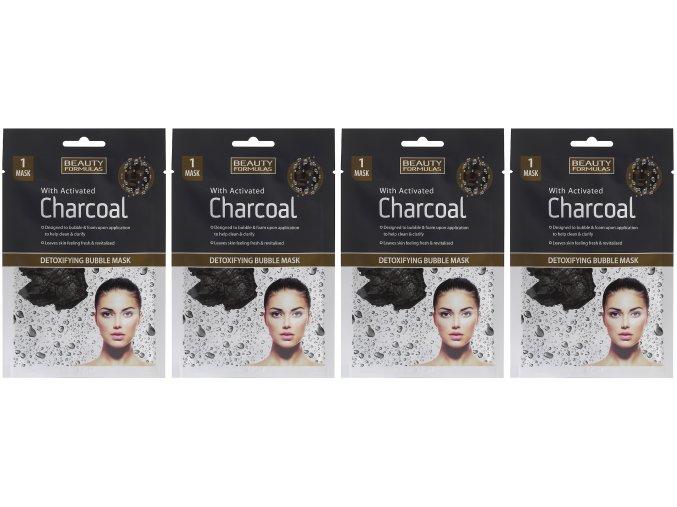 BEAUTY FORMULAS Detoxikační bublinková maska s aktivním uhlím (4 ks)